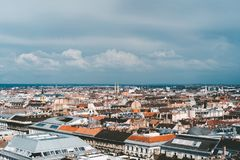 rooftops of buildings and cloudy sky Stock Photography