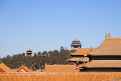 Rooftops Of Buildings Within The Forbidden City With Chinese Pagodas In The Background Royalty Free Stock Photography