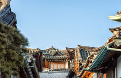 Rooftops of Bukchon Hanok Village Royalty Free Stock Images
