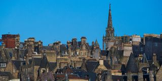 Rooftops of Edinburgh Old Town. Rooftops and chimneys of Edinburgh Old Town Royalty Free Stock Photography