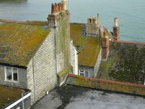 English rooftops. Rooftops and chimneys of english houses Stock Photo