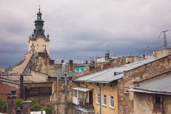 Rooftops and church tower. Royalty Free Stock Images