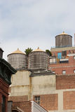 Rooftops containing wooden water tanks, Greenwich Village, Manhattan Stock Image
