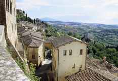 Rooftops in Cortona. With a beautiful wiew Royalty Free Stock Photography