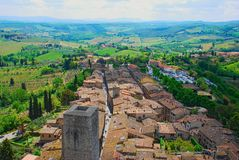 Rooftops and Coutryside in Tuscany. Rooftops and towers of San Gimignano with the Tuscany countryside Stock Images