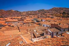 Rooftops of Cusco city in Peru. Tiled rooftops of old traditional homes in Cusco city, Peru, South America Stock Photography