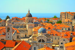 Rooftops in Dubrovnik, Croatia. Churches, domes and orange rooftops in Dubrovnik, Croatia stock images