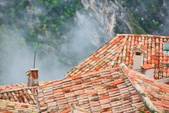 Rooftops of Eze village Stock Photos