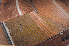 Rooftops forming shapes at O Porto, Portugal. Clay tiles are a typical feature of Portuguese architecture Stock Photo