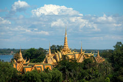 Rooftops of the Grand Palace, Phnom Penh, Cambodia. Stock Photos