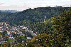 Rooftops, houses and streets from the tourist city of Vianden, Luxembourg Royalty Free Stock Images