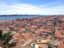 Rooftops i Lisbon Royaltyfria Bilder