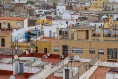 Rooftops of immigrant neighbourhood of Raval, Barcelona, Spain royalty free stock photography