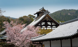 Rooftops of Japanese castle in Kyoto Royalty Free Stock Photography