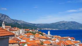 Rooftops of Korcula island in Croatia,summer destination Royalty Free Stock Photo