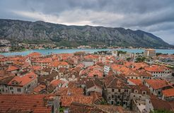 Rooftops of Kotor Old town stock photos