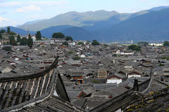 Rooftops of Lijiang. View of the rooftops of the old city in Lijiang , Yunnan, China royalty free stock photos