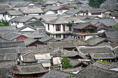 Lijiang Rooftops. Rooftops of Lijiang Old Town in China's Yunnan province royalty free stock photos