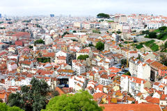 Rooftops of Lisboa. Tile rooftops of Lisboa city panoramic view background Stock Photography