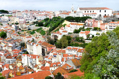 Rooftops of Lisboa. Tile rooftops of Lisboa city panoramic view background Royalty Free Stock Photography