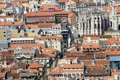 Lisbon panorama. Rooftops of Lisbon with Elevador Santa Justa Stock Image