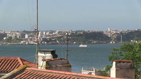 Rooftops of Lisbon, Portugal. City view of downtown Lisbon, Portugal stock video