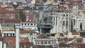 Rooftops of Lisbon, Portugal. City view of downtown Lisbon, Portugal with push in to Santa Justa elevator stock video