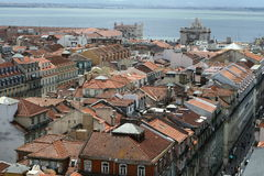 Rooftops of Lisbon. With river view Royalty Free Stock Photo