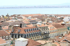 Rooftops of Lisbon. With river view royalty free stock photography