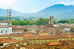 Rooftops of Lucca. Rooftops in the Italian village Lucca Royalty Free Stock Photo