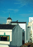 Rooftops Madrid Spain with church Stock Images