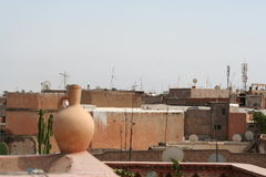 Rooftops in Marrakech. View of rooftops in the old medina in Marrakech, Morocco Stock Image