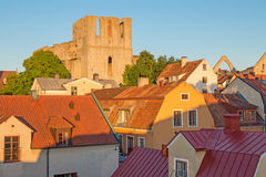 Rooftops and a medieval fortress in Visby, Sweden Royalty Free Stock Photo