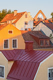 Rooftops of medieval town Visby Stock Photos