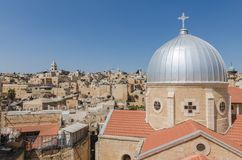 Rooftops of the Old City of Jerusalem, including the dome of Our Lady of Spasm in the foregroun stock image