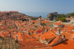 Rooftops of old Dubrovnik, Croatia. Rooftops  of old town Dubrovnik with many old red roofed windows, Croatia Stock Photography