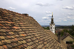Rooftops in old part of Zemun,Serbia with Saint Nicholas church Royalty Free Stock Images