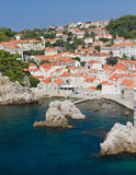 Rooftops of old town Dubrovnik,. Rooftops  and little marina of old town Dubrovnik with many old red roofed windows, Croatia Stock Photos