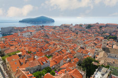 Rooftops  of old town Dubrovnik,. Rooftops  of old town Dubrovnik with many old red roofed windows, Croatia Stock Photos