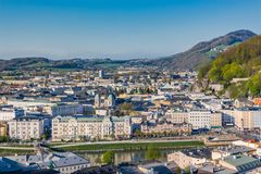 Salzburg Village Rooftops on Hills Background Royalty Free Stock Image