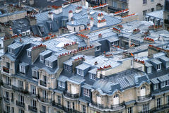 Rooftops in Paris. Rooftops of typical Parisian buildings in Paris royalty free stock photography