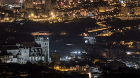 Rooftops of Porto's old town on spring night stock video