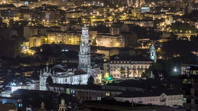 Rooftops of Porto's old town on spring night stock footage