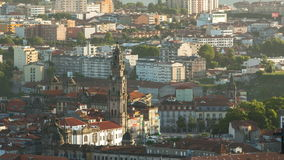 Rooftops of Porto's old town on a warm spring day stock footage