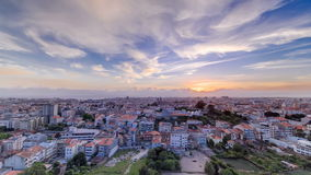 Rooftops of Porto's old town on a warm spring day stock video footage