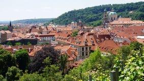 Rooftops of Prague and park, Czech Republic Stock Photo