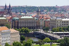 Rooftops of Prague, river and bridge Royalty Free Stock Photos