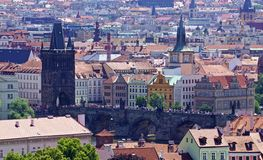 Rooftops of Prague, river and Charles bridge Stock Photo