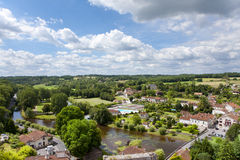 Rooftops and river in idyllic village, Bourdeilles, Dordogne, France Stock Photos