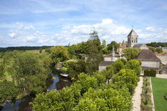 Rooftops and river in idyllic village, Bourdeilles, Dordogne, France Royalty Free Stock Photography